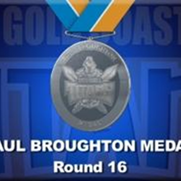 Paul Broughton Medal Points Round 16 Titans V Knights