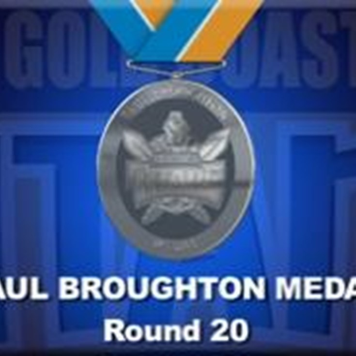 Paul Broughton Medal Points for Round 20 - Titans V Dragons
