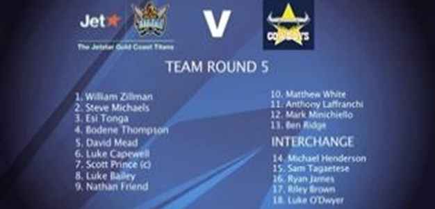 Gold Coast Titans Team for Rd 5 V Cowboys