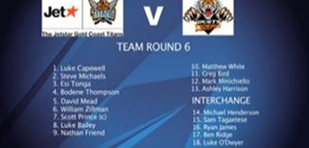 Gold Coast Titans Team for Round 6 V Wests Tigers