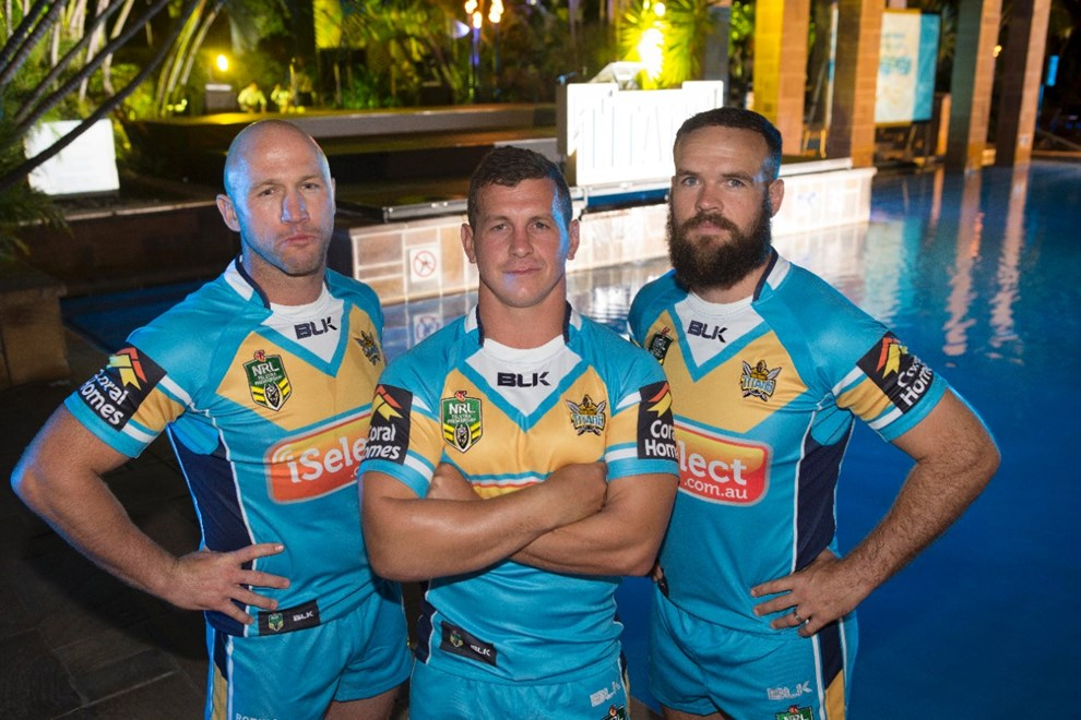 LUKE BAILEY, GREG BIRD AND NATE MYLES: GOLD COAST TIANS SEASON LAUNCH AT JUPITERS CASINO - 27th MARCH 2014. This image is for Editorial Use Only. Any further use or individual sale of the image must be cleared by application to the Manager Sports Media Publishing (SMP Images). PHOTO : CHARLES KNIGHT - SMP IMAGES