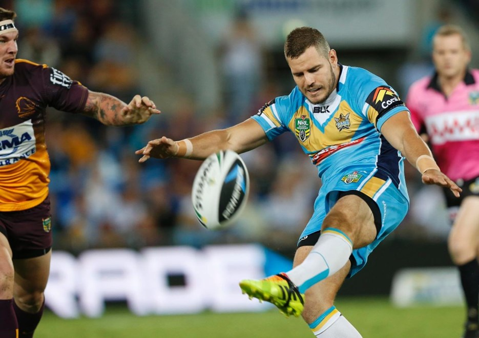 AIDAN SEZER - NRL ROUND 6 -  GOLD COAST TITANS V BRISBANE BRONCOS AT CBUS SUPER STADIUM, 11th APRIL 2014. This image is for Editorial Use Only. Any further use or individual sale of the image must be cleared by application to the Manager Sports Media Publishing (SMP Images). PHOTO : CHARLES KNIGHT - SMP IMAGES