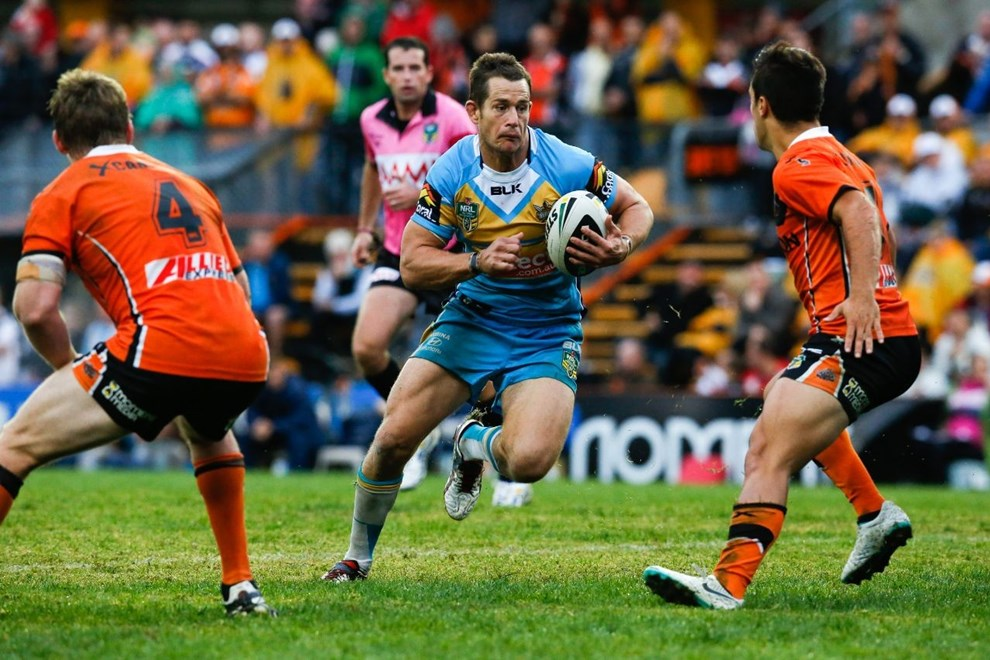 Ashley HArrison, Gold Coast National Rugby League, West Tigers Vs Gold Coast Titans, Leichhardt Oval 27 April 2014. PIc Dave Tease