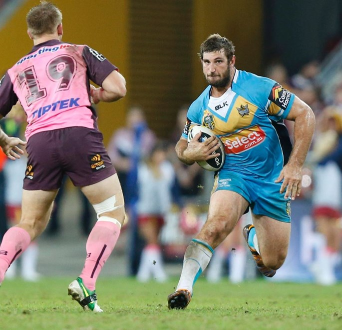 DAVE TAYLOR - PHOTO : CHARLES KNIGHT - SMPIMAGES.COM - NRL ROUND 10 -  BRISBANE BRONCOS V GOLD COAST TITANS AT SUNCORP STADIUM, 16th MAY 2014. This image is for Editorial Use Only. Any further use or individual sale of the image must be cleared by application to the Manager Sports Media Publishing (SMP Images).