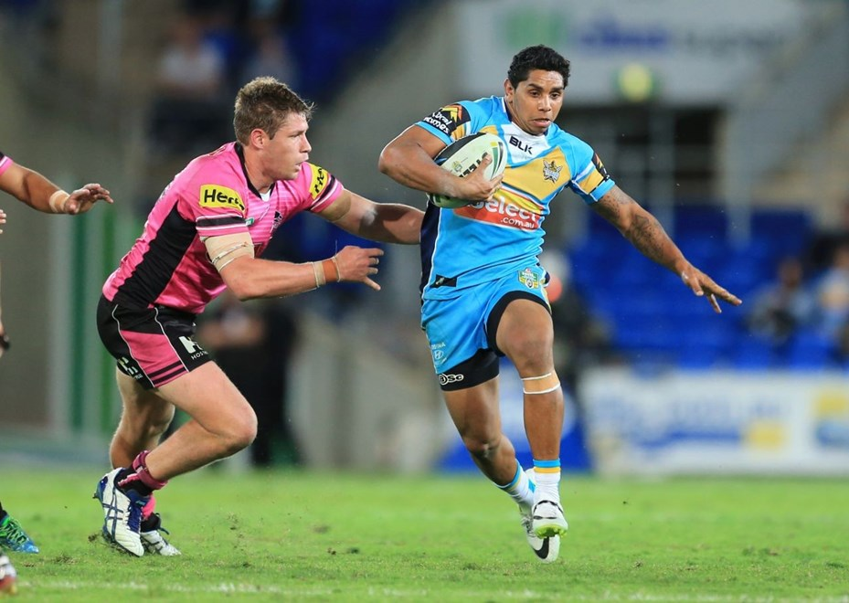 ALBERT KELLY (GC TITANS) - Photo:- www.smpimages.com/GC Titans Media. 7th June 2014, Action from the Round 13 National Rugby League (NRL) clash between the Gold Coast Titans v Penrith Panthers played at CBUS Stadium on Queenslands, Gold Coast - © SMP Images. This Image may not be copied or duplicated in any way without written permission from SMP Images / Gold Coast Titans. No third party sales either commercial nor private allowed. PHOTO SMP IMAGES/GC TITANS MEDIA