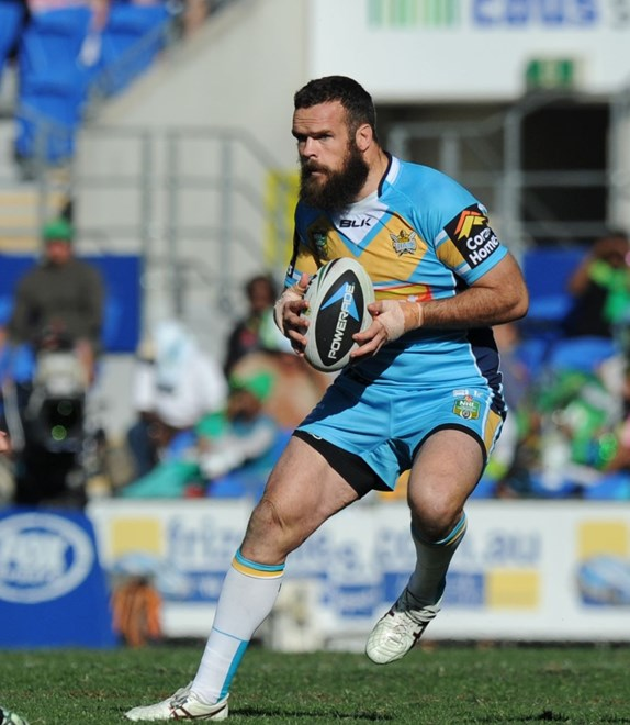 NATE MYLES - GOLD COAST -  PHOTO: SCOTT DAVIS - SMPIMAGES.COM - GOLD COAST TITANS V CANBERRA RAIDERS, 13th JULY 2014 - Action from round 18 of the NRL, between the Gold Coast Titans and the Canberra Raiders, being played at CBUS Super Stadium on the Gold Coast. This image is for Editorial Use Only. Any further use or individual sale of the image must be cleared by application to the Manager Sports Media Publishing (SMP Images).