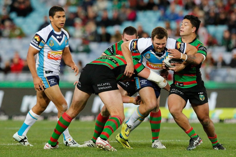 TOM KINGSTON GOLD COAST IN ACTION National Rugby League action, South Sydney Rabbitohs VS Gold Coast Titans at ANZ Stadium 7 July 2014. pic Dave Tease SMP Images