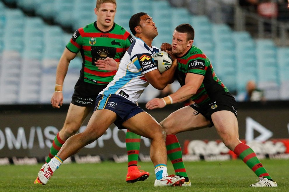 MARK IOANE GOLD COAST National Rugby League action, South Sydney Rabbitohs VS Gold Coast Titans at ANZ Stadium 7 July 2014. pic Dave Tease SMP Images