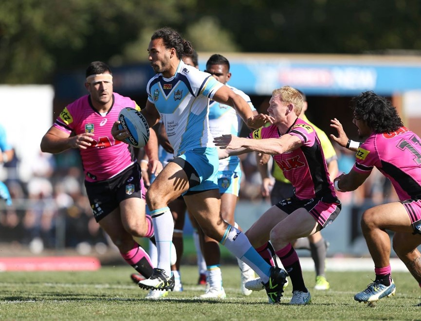 Ryan James : Digital Image by Robb Cox ©nrlphotos.com:  :NRL Rugby League - Panthers V Titans at Carrigton Oval, Bathurst. Saturday March 14th 2015.
