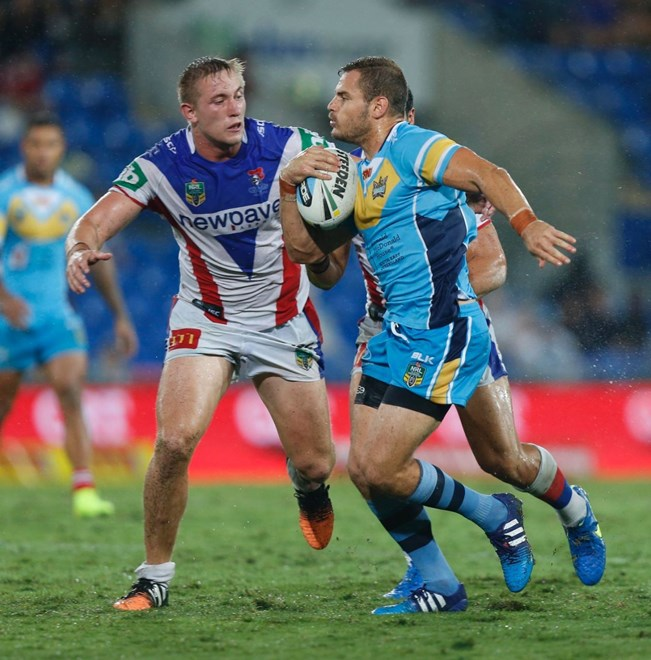 Aidan Sezer : Digital Image by Charles Knight copyright © NRLphotos. NRL, Round 3, Gold Coast Titans v Newcastle Knights at Cbus Super Stadium, Gold Coast, Saturday March 22nd 2015.
