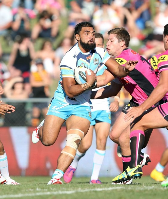Mark Ioane  : Digital Image by Robb Cox ©nrlphotos.com:  :NRL Rugby League - Panthers Vs Titans at Carrigton Oval, Bathurst. Saturday March 14th 2015.