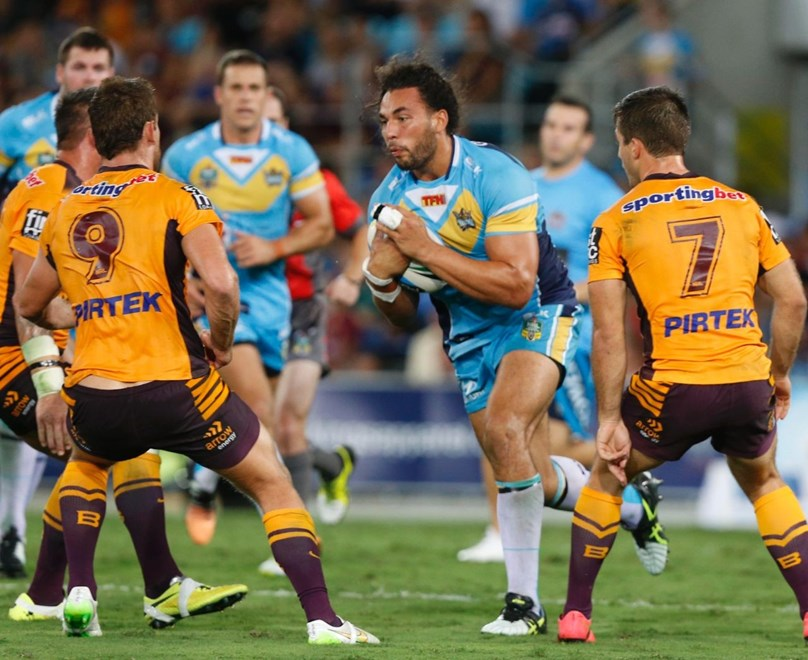 Ryan James : Digital Image by Charles Knight copyright © nrlphotos. NRL Rugby League, Gold Coast Titans v Brisbane Broncos at Cbus Super Stadium, Gold Coast, April 3rd 2015.