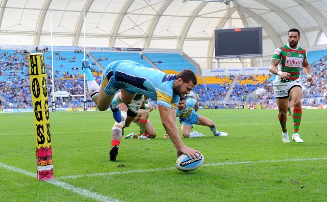 Anthony Don scores a try in the corner : Digital Image Scott Davis NRLphotos: NRL Round 12 Gold Coast Titans V South Sydney Rabbitohs at Cbus Super Stadium, Gold Coast, Saturday 30th May 2015