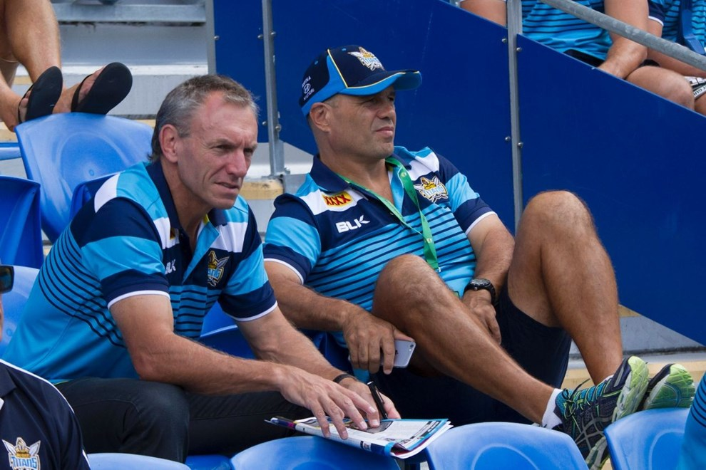 Neil Henry and Terry Matterson : Digital Image by Kylie Cox, copyright @ NRLphotos. NRL, Round 7, Gold Coast Titans v Penrith Panthers at Cbus Super Stadium, Gold Coast, Saturday April 18th 2015.