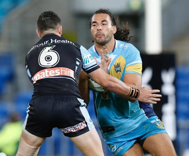 Ryan James : Digital Image Charles Knight © NRLphotos. NRL Rugby League, Gold Coast Titans vCronulla Sharks at Cbus Super Stadium, Gold Coast, May 16th 2015.