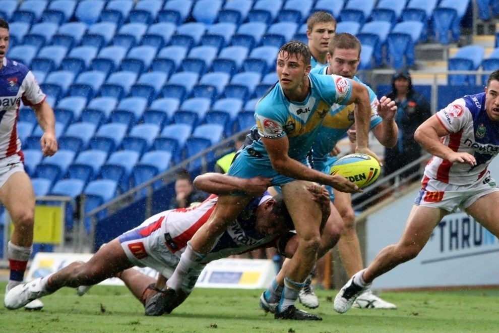 Karl Lawton : Digital Image by Kylie Cox, copyright @ NRLphotos. NYC, Round 3, Gold Coast Titans v Newcastle Knights at Cbus Super Stadium, Gold Coast, Saturday March 22nd 2015.