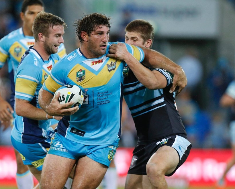 Dave Taylor : Digital Image Charles Knight © NRLphotos. NRL Rugby League, Gold Coast Titans vCronulla Sharks at Cbus Super Stadium, Gold Coast, May 16th 2015.