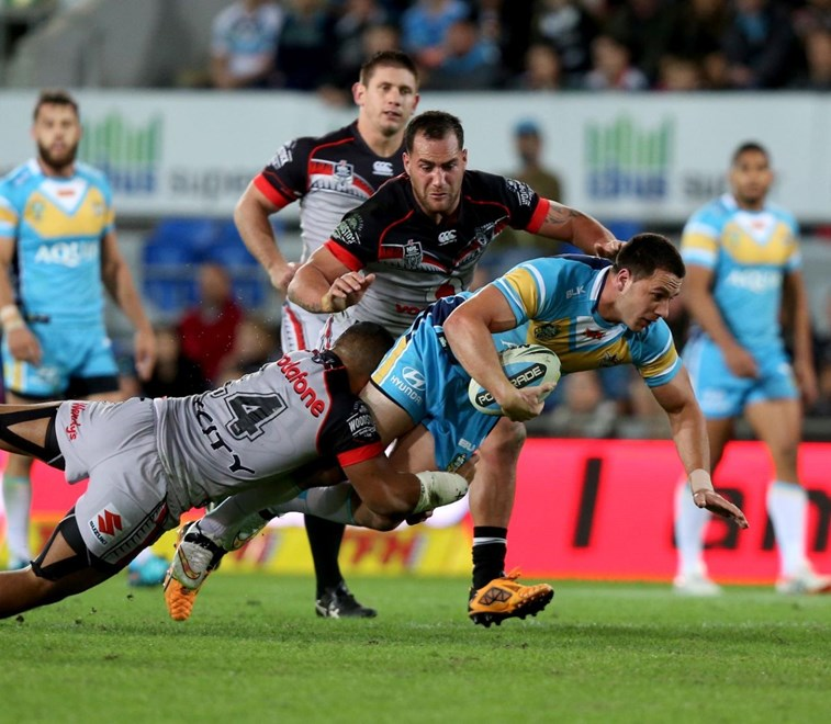 Lachlan Burr : Digital Image by Charles Knight copyright © nriphotos. NRL Rugby League, Gold Coast Titans v NZ Warriors at Cbus Super Stadium, Gold Coast, June 20th, 2015.