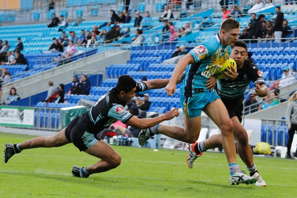 Jed Cartwright : Digital Image by Kylie Cox, copyright @ NRLphotos. NYC, Round 10, Gold Coast Titans v Cronulla Sharks at Cbus Super Stadium, Gold Coast, Saturday May 16th 2015.