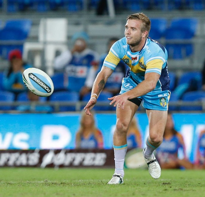 Kane Elgey : Digital Image Charles Knight © NRLphotos. NRL Rugby League, Gold Coast Titans vCronulla Sharks at Cbus Super Stadium, Gold Coast, May 16th 2015.