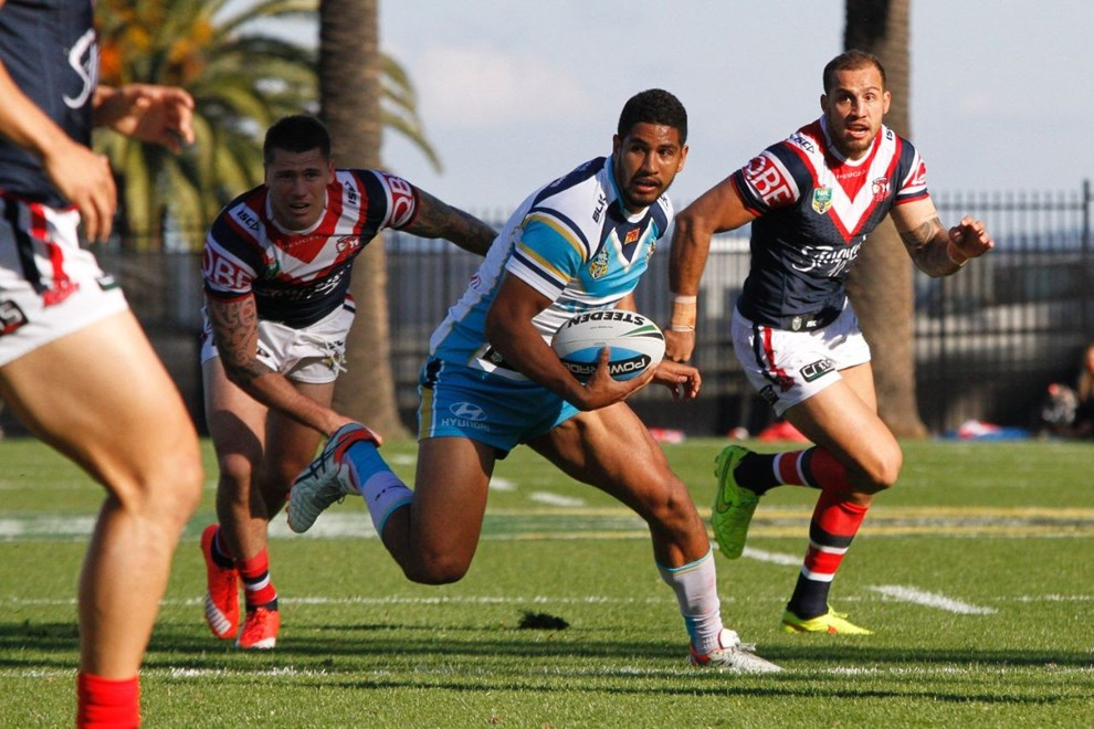 Nene MacDonald : Digital Image by Kylie Cox, copyright @ NRLphotos. NRL Round 16, Sydney Roosters v Gold Coast Titans at Central Coast Stadium, Gosford Sunday 28th June 2015