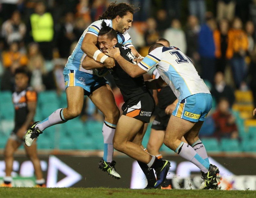 Digital Image by Anthony Johnson copyright © nrlphotos.com:  Sauaso Sue : 2015 NRL Round 13 -   Wests Tigers vs Gold Coast Titans at Leichhardt Oval Friday June 5th 2015