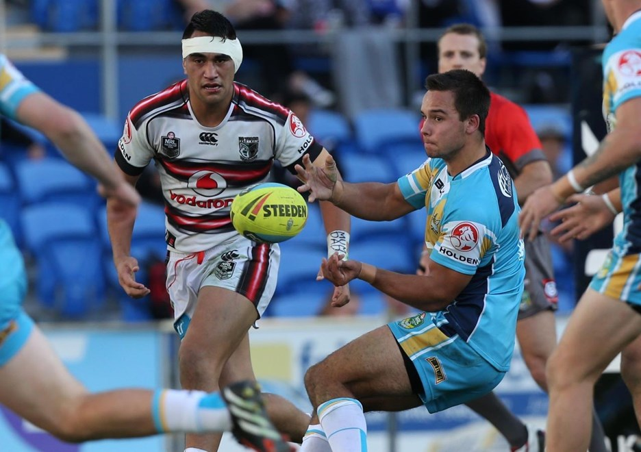 : Digital Image by Charles Knight copyright © NRLphotos. NRL Rugby League, Gold Coast Titans v NZ Warriors at Cbus Super Stadium, Gold Coast, June 20th, 2015.