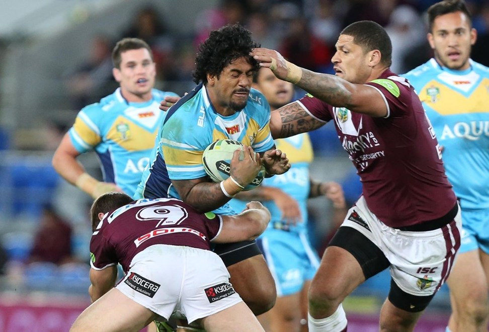 Eddy Pettybourne : Digital Image by Charles Knight copyright © NRLphotos. NRL Rugby League, Gold Coast Titans v Manly Sea Eagles at Cbus Super Stadium, Gold Coast, July 13th, 2015.