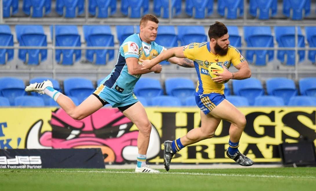 Abbas Miski : Digital Image Scott Davis NRLphotos: NYC Round 21 Gold Coast Titans V Parramatta Eels at Cbus Super Stadium, Gold Coast, Monday 03rd August 2015