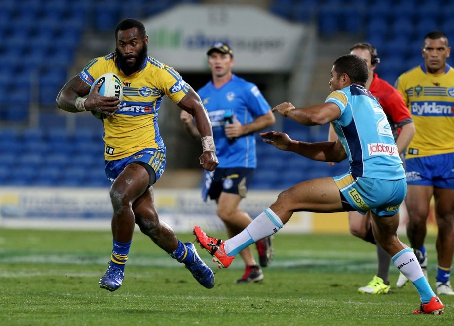 Semi Radradra  : Digital Image by Charles Knight copyright © NRLphotos. NRL Rugby League, Gold Coast Titans v Parramatta Eels, Cbus Super Stadium, August 3rd, 2015.
