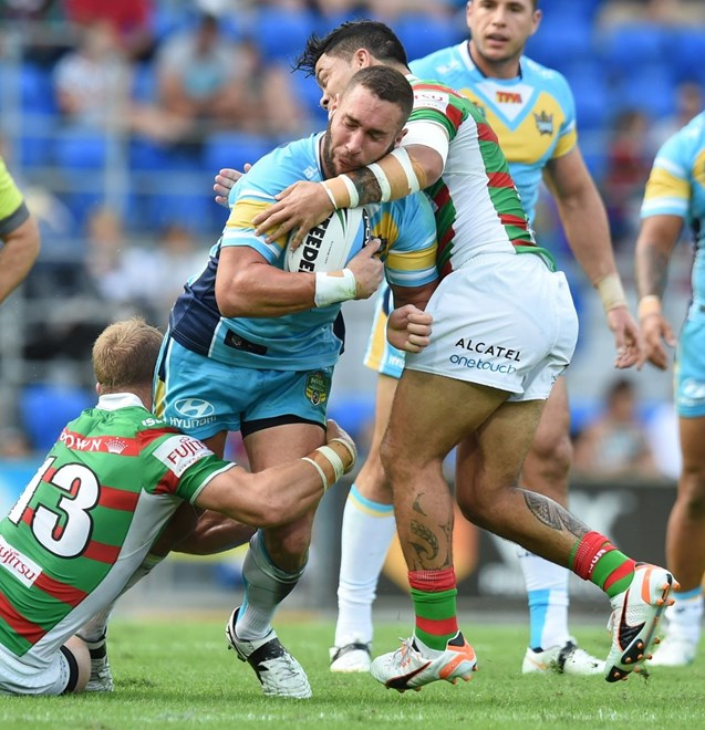Ben Ridge : Digital Image Scott Davis NRLphotos: NRL Round 12 Gold Coast Titans V South Sydney Rabbitohs at Cbus Super Stadium, Gold Coast, Saturday 30th May 2015