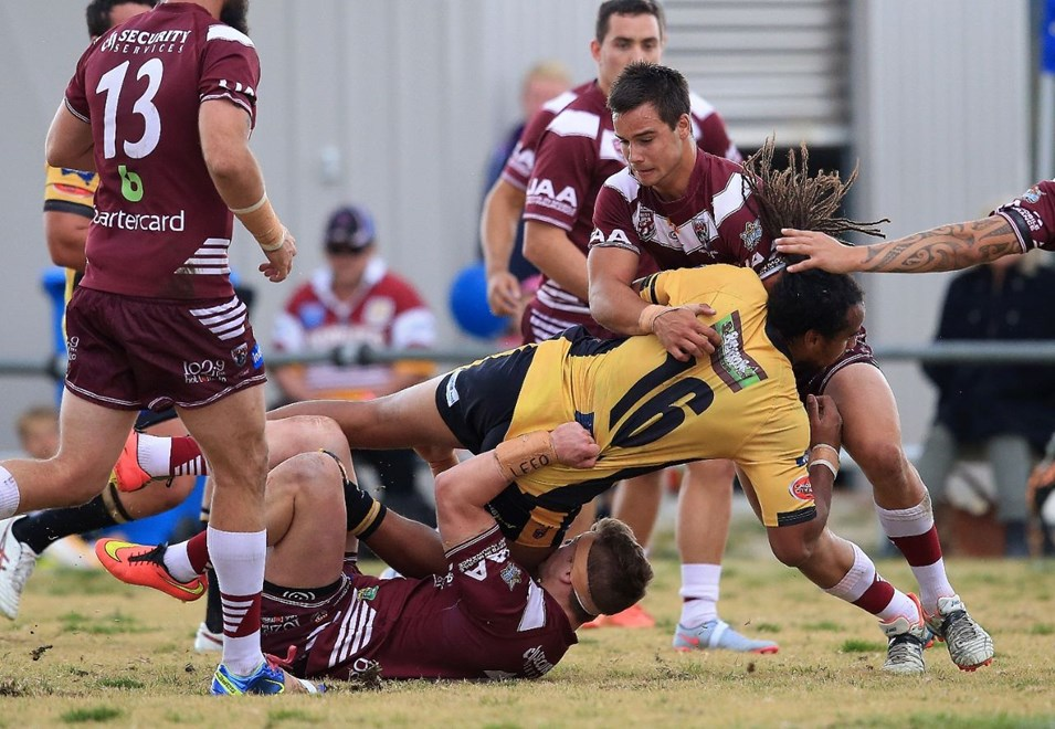 MBOYA ADAMS - (SUNSHINE COAST FALCONS) - SULLIVAN OVAL STANTHORPE - 16th August 2015 - Queensland Rugby League (QRL) 2015 Country Week - Sunshine Coast Falcons squared off against the Burleigh Bears during Action from the Round 23 QRL Intrust Super Cup being played at Sullivan Oval, Stanthorpe in Queensland.