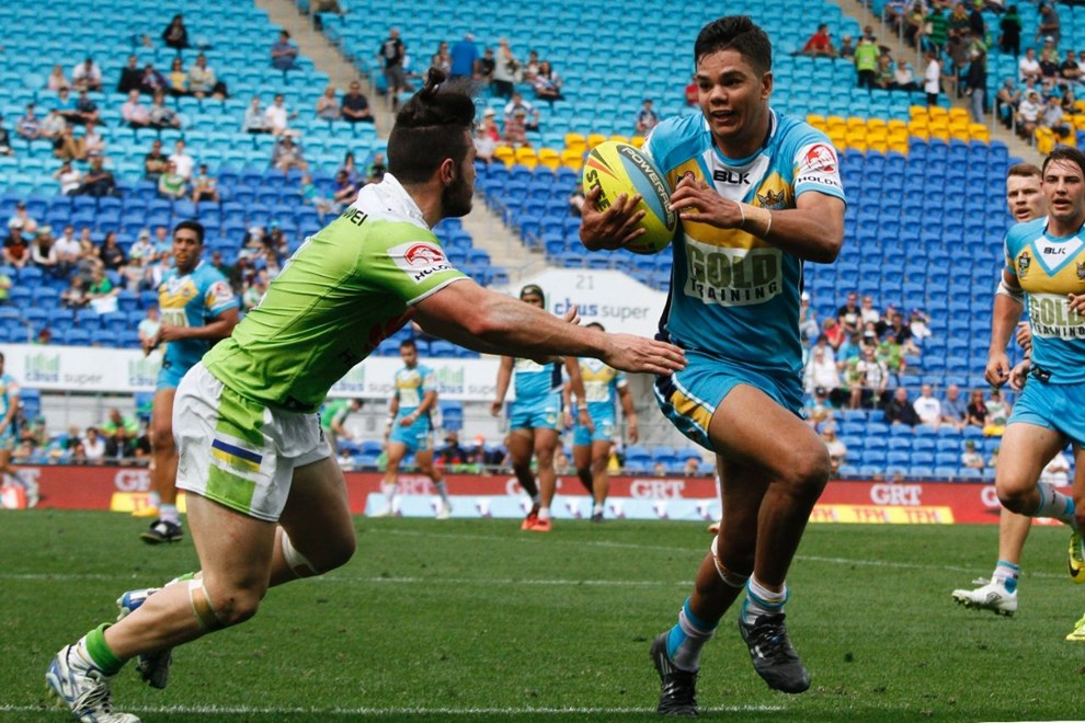 Brayden McGrady : Digital Image by Kylie Cox, copyright @ NRLphotos. NYC, Round 24, Gold Coast Titans v Canberra Raiders at Cbus Super Stadium Stadium, Gold Coast, Sunday August 23rd 2015.