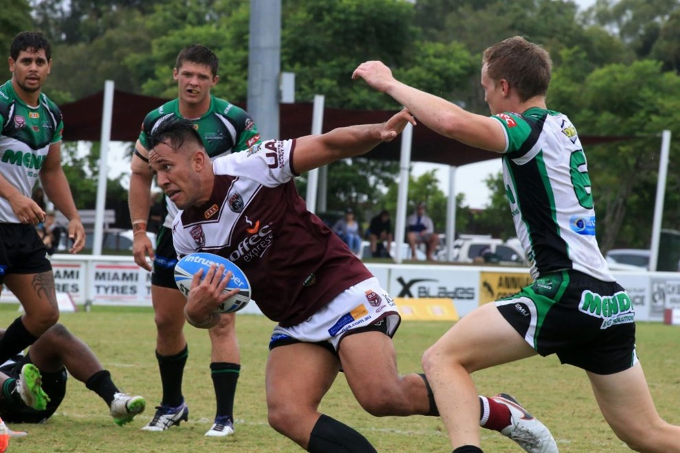 Nathaniel Peteru - BURLEIGH BEARS -  Action from the Intrust Super Cup Round 9 - 1st May Between Burleigh Bears Vs Townsville Blackhawks. Played at Pizzy Park, Miami Qld. Photo Wendy van den Akker SMP Images.
