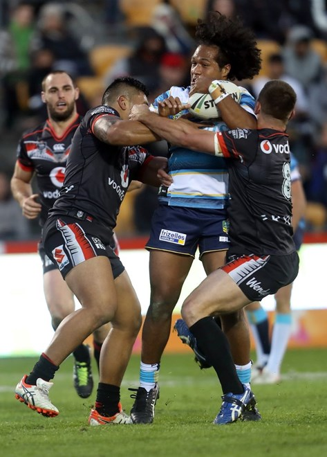 Competition - NRL Premiership Round - Round 17 Teams – NZ Warriors v Gold Coast Titans Date – 2nd of July 2016 Venue – Mt Smart Stadium, Auckland, NZ Photographer – Shane Wenzlick