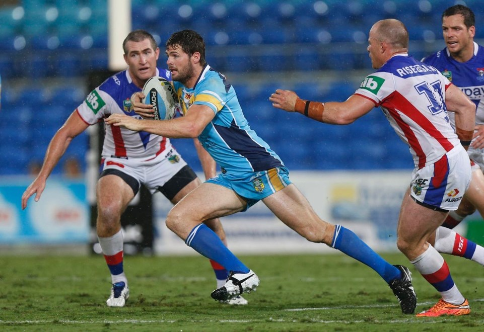 Anthony Don : Digital Image by Charles Knight copyright © NRLphotos. NRL, Round 3, Gold Coast Titans v Newcastle Knights at Cbus Super Stadium, Gold Coast, Saturday March 22nd 2015.